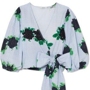 GANNI Embellished printed cotton-poplin wrap top